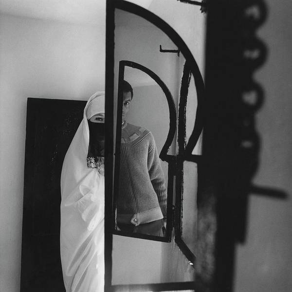 Mirror Photograph - A Male Model Posing In A Mirror With A Woman by Chadwick Hall