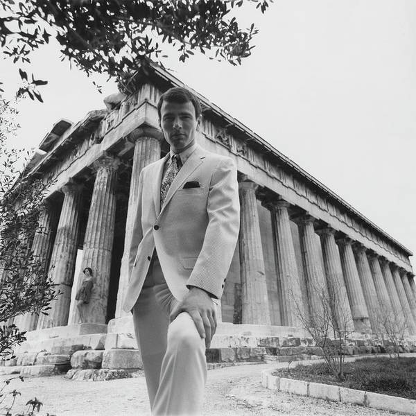 Male Photograph - A Male Model Posing In Front Of The Theseion by Leonard Nones