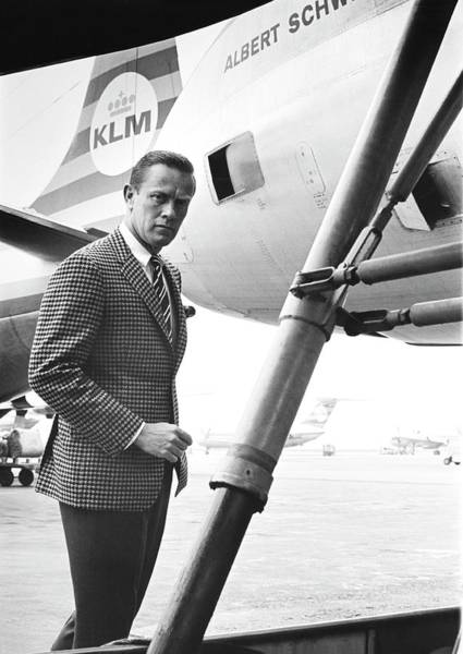 A Male Model Stands Next To A Klm Dc-9 Jet Art Print