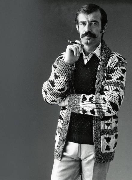 Photograph - A Male Model Wearing An Aztec-motif Cardigan by Bill Cahill