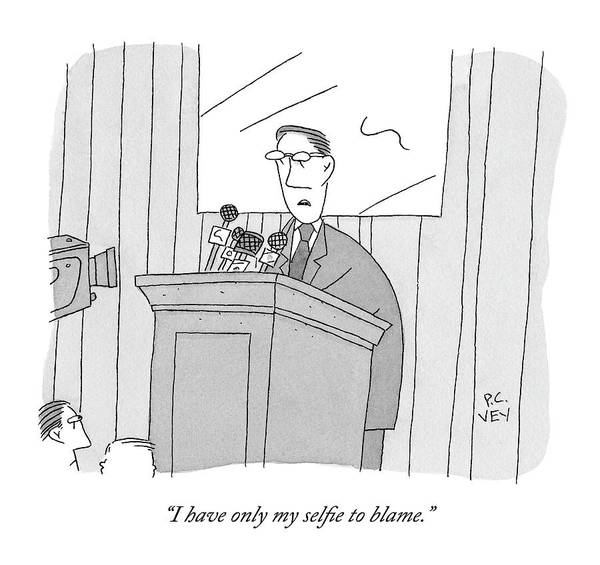 Scandal Drawing - A Male Politician Speaks At A Press Conference by Peter C. Vey
