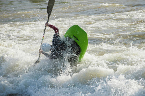 Wall Art - Photograph - A Male Whitewater Kayaker Playboats by Doug Marshall