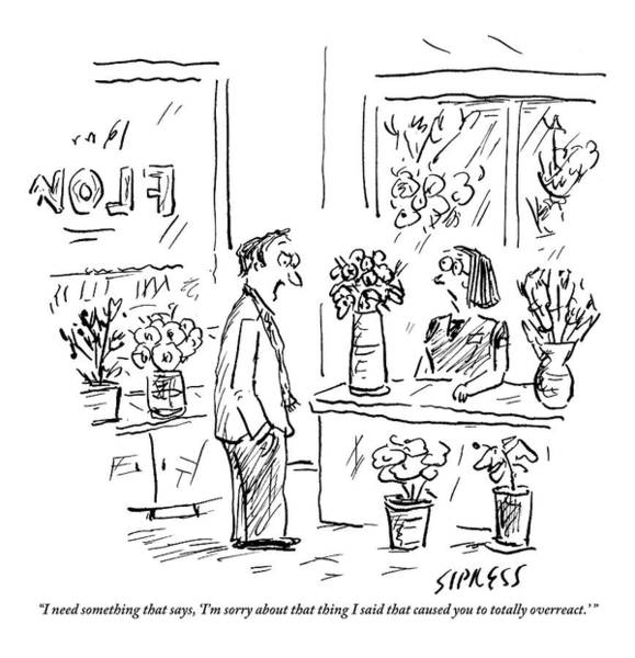 Flower Drawing - A Man Addressing A Florist by David Sipress