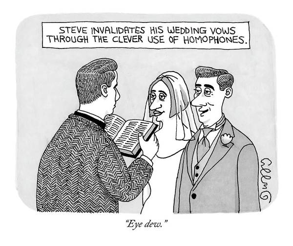 Wedding Drawing - A Man And A Woman Are Getting Married  -  Steve by J.C.  Duffy