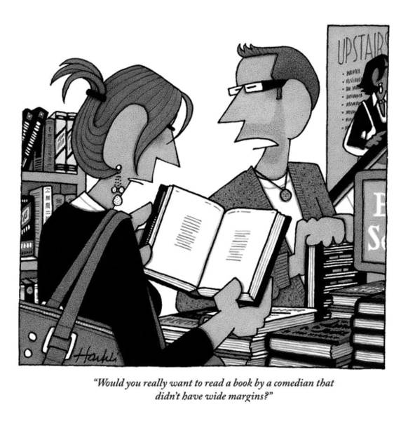 Bookstore Drawing - A Man And A Woman Are In A Bookstore by William Haefeli