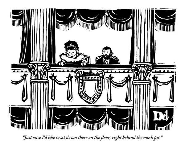 Theater Drawing - A Man And A Woman Are Sitting In The Balcony by Drew Dernavich
