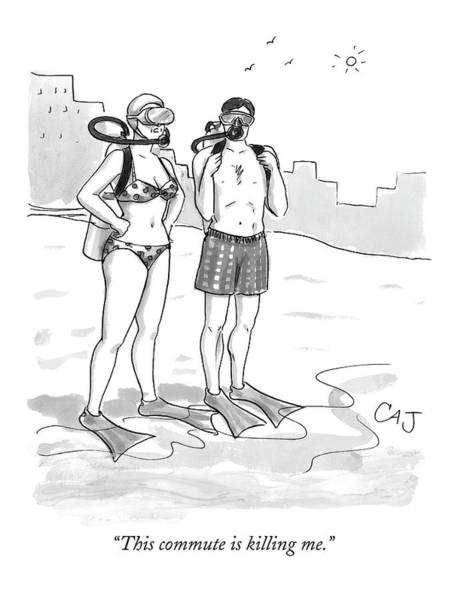 Tropical Drawing - A Man And A Woman In Swimsuits And Diving Gear by Carolita Johnson