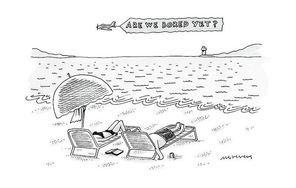 Airplanes Drawing - A Man And A Woman Lie Down On Reclined Beach by Mick Stevens