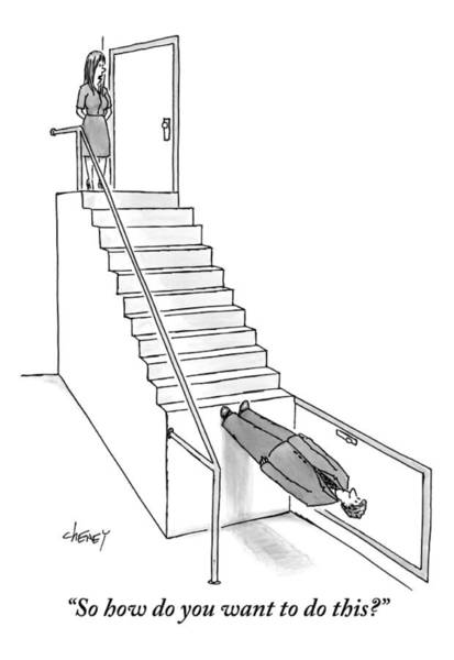 Staircase Drawing - A Man And A Woman Standing At Either End Of An by Tom Cheney
