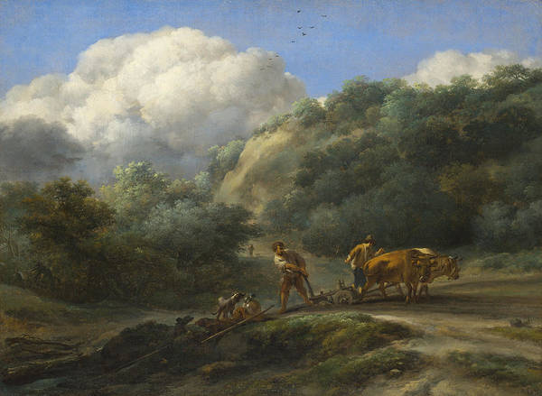Ploughing Painting - A Man And A Youth Ploughing With Oxen by Nicolaes Pietersz  Berchem