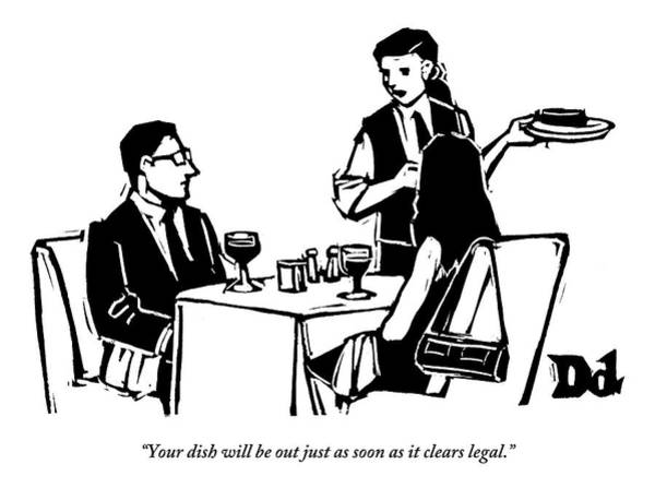 Dine Drawing - A Man And Woman Are Dining At A Restaurant by Drew Dernavich