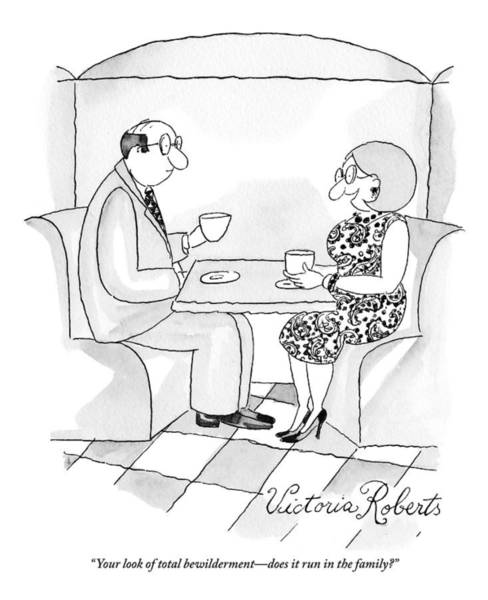 Cafe Drawing - A Man And Woman Are Having Coffee Together by Victoria Roberts