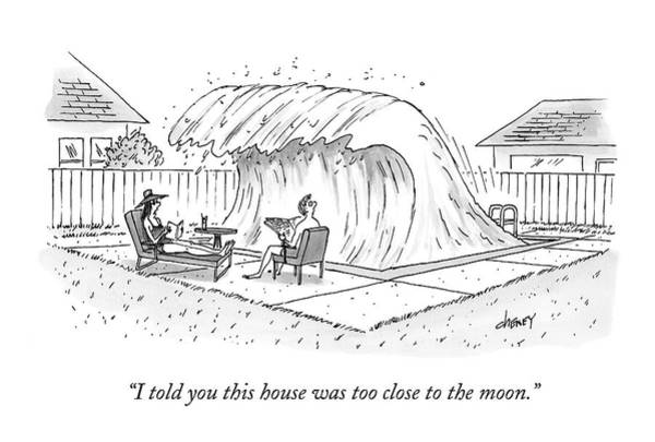 Moon Drawing - A Man And Woman Lounge In Their Yard by Tom Cheney