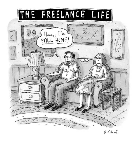Writer Drawing - A Man And Woman Sit On A Couch In Their Living by Roz Chast