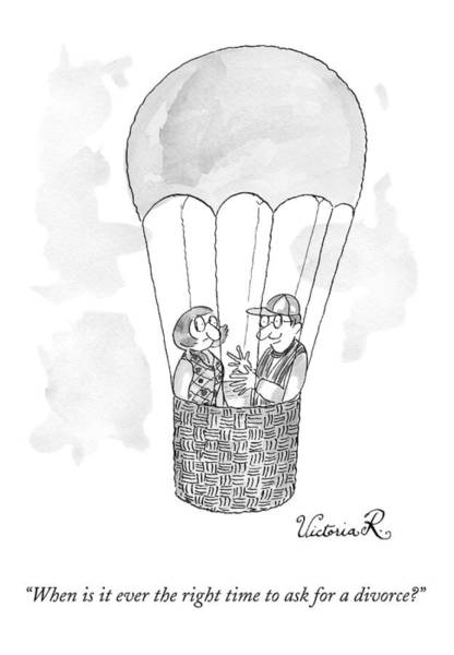 Divorce Drawing - A Man Asks A Woman In A Hot-air Balloon by Victoria Roberts
