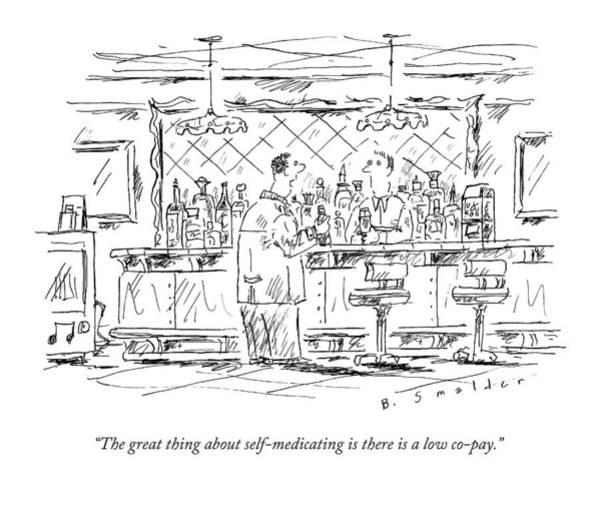 Bar Drawing - A Man At A Bar Talking To The Bartender by Barbara Smaller