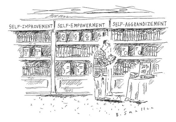 Self Image Drawing - A Man At A Bookstore Stands Near Three Shelves: by Barbara Smaller