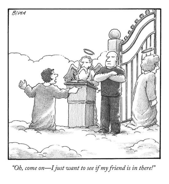 Heaven Drawing - A Man At Heaven's Gate Pleads To St. Peter by Harry Bliss
