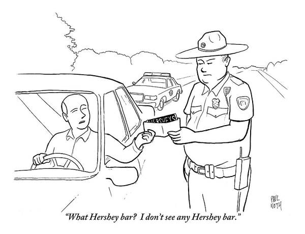 Police Drawing - A Man Attempts To Bribe A Traffic Police Officer by Paul Noth