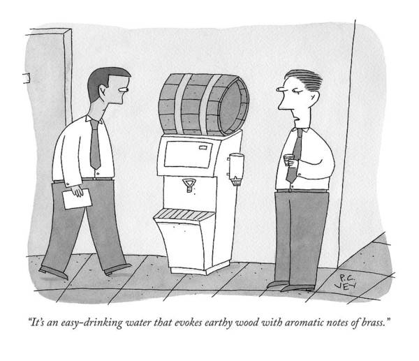 Wine Drawing - A Man By A Water Cooler That Has Been Replaced by Peter C. Vey