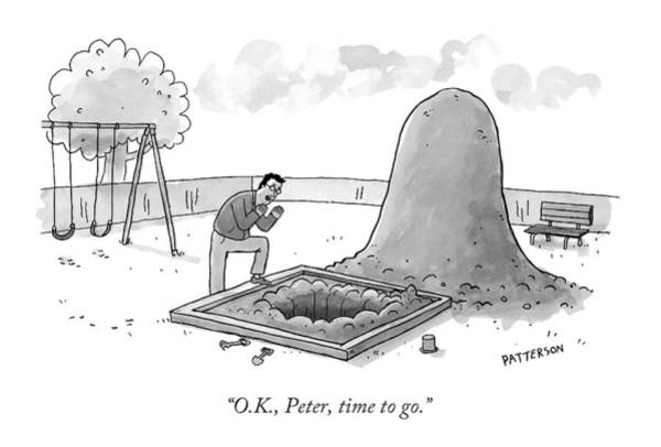 Adult Drawing - A Man Calling Into A Giant Hole Dug In A Sandbox by Jason Patterson