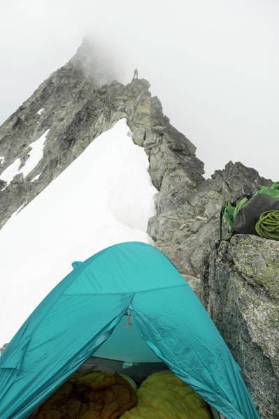 Silhoutte Photograph - A Man Camping On A  Granite Ridgeline by Kennan Harvey