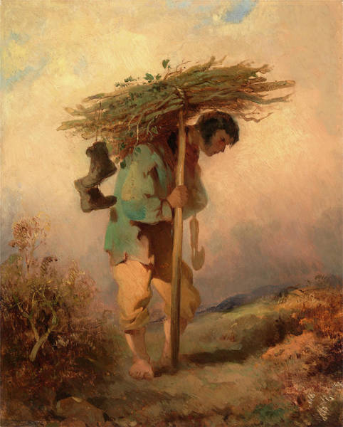 Wall Art - Painting - A Man Carrying Faggots, George Chinnery, 1774-1852 by Litz Collection