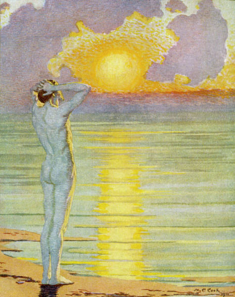 Meditation Drawing - A Man Contemplates The Sunrise by Mary Evans Picture Library
