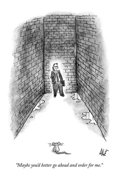 August 11th Drawing - A Man Cornered In An Alleyway Speaks On His Cell by Frank Cotham