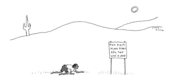 Landmark Drawing - A Man Crawling Through The Desert Nears A Sign by Liana Finck
