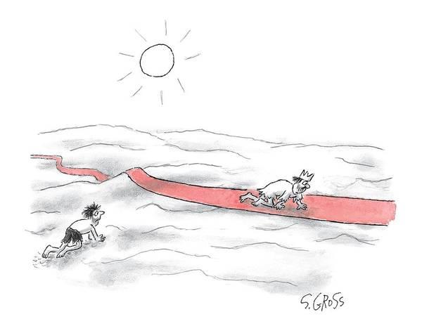 October 5th Drawing - A Man Crawls Across The Desert by Sam Gross