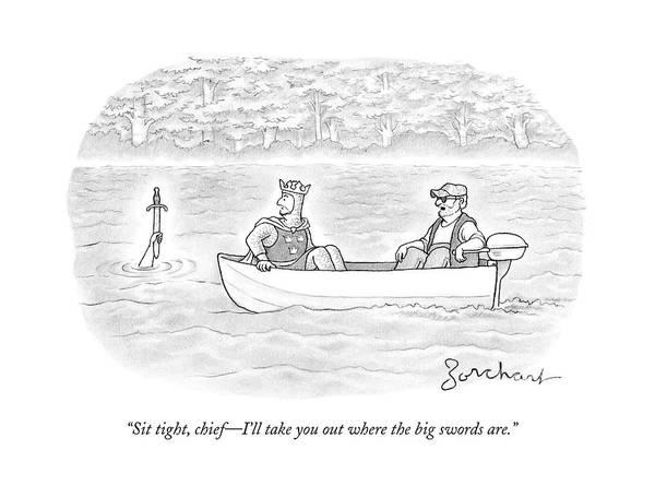 Sword Drawing - A Man Drives A Small Fishing Boat On A Lake by David Borchart