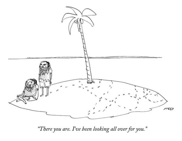 2013 Drawing - A Man Finally Finds Another Man On A Small Desert by Edward Steed