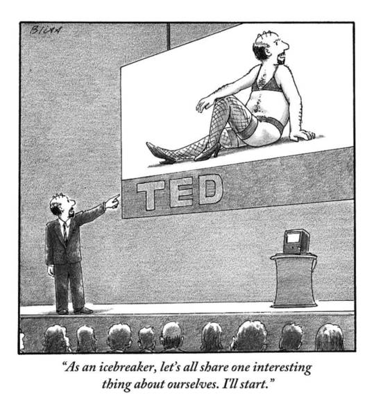 July 2nd Drawing - A Man Giving A Ted Presentation Points To An by Harry Bliss
