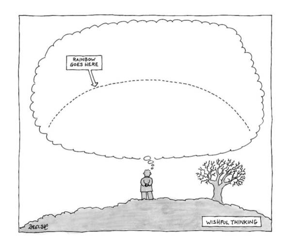 Thinking Drawing - A Man Has A Thought Cloud by Jack Ziegler