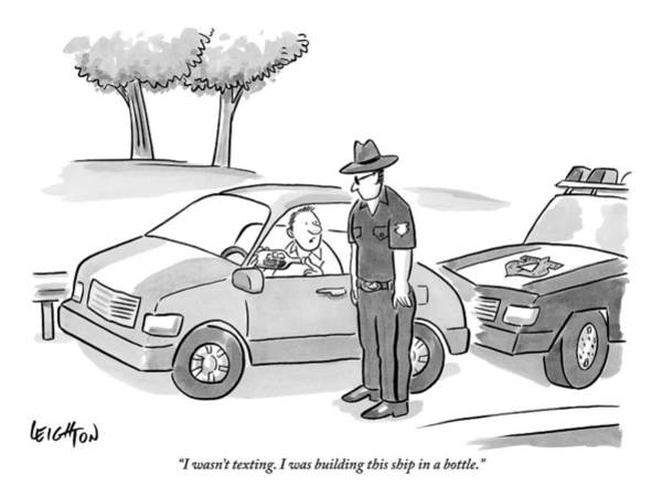 Traffic Drawing - A Man Has Been Pulled Over And Explains What by Robert Leighton