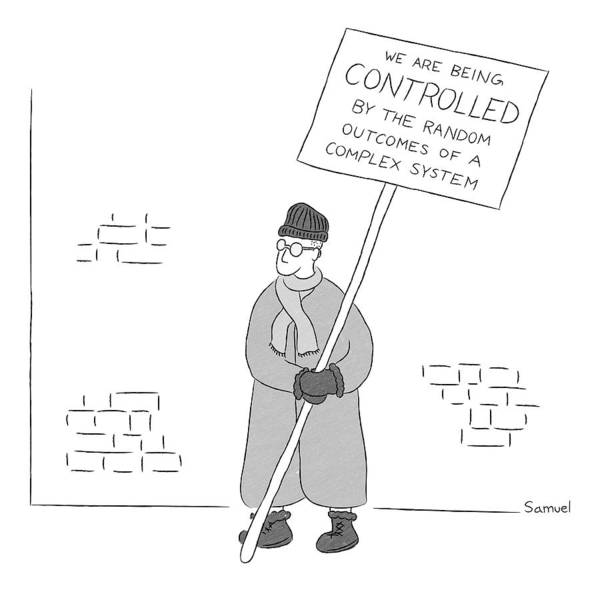 2015 Drawing - A Man Holds A Sign That Reads by Jacob Samuel