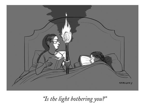 Marriage Drawing - A Man Holds A Torch In Bed As His Reading Light by Alex Gregory