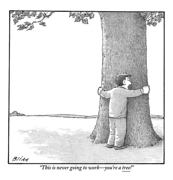 Breakup Drawing - A Man Hugging A Tree Speaks To It Forlornly by Harry Bliss