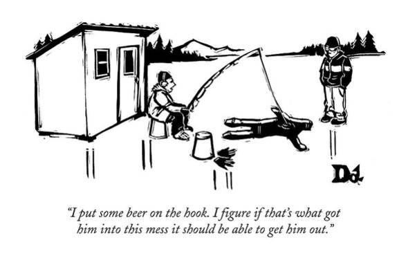 Fishing Drawing - A Man Ice Fishes Through Man-shaped Hole by Drew Dernavich