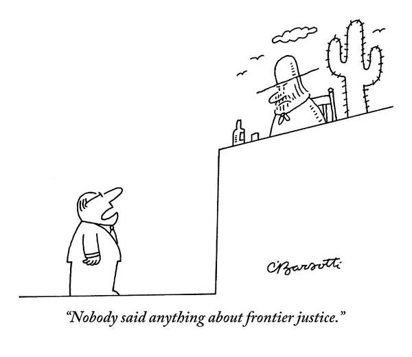 Legal Drawing - A Man In A Business Suit Is Speaking To A Judge by Charles Barsotti