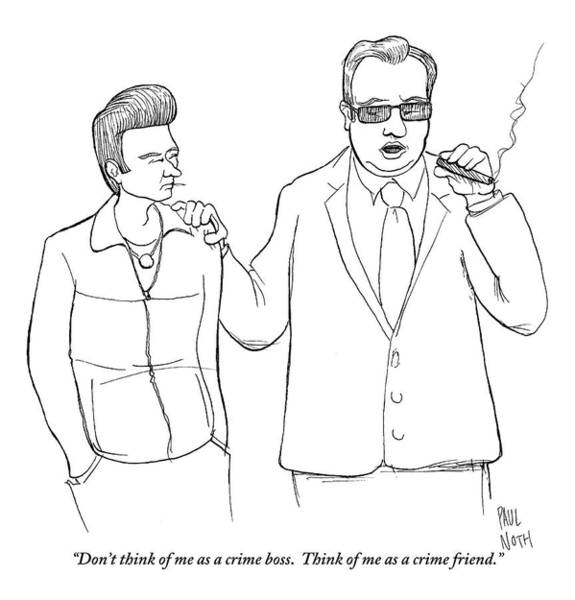 Smoking Drawing - A Man In A Suit Smoking A Cigar by Paul Noth