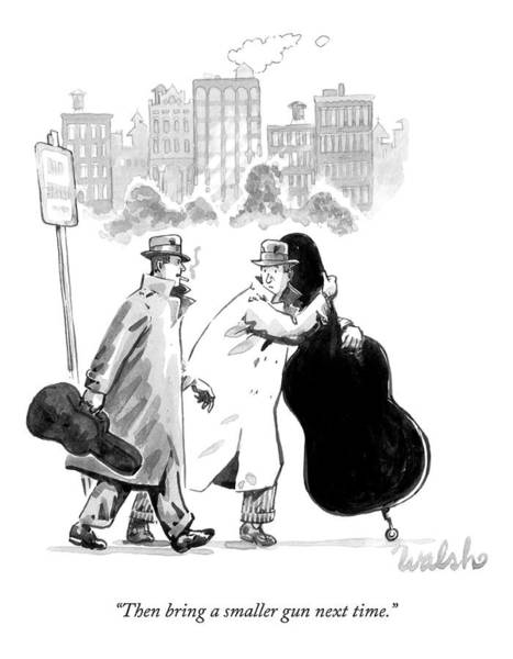 Violin Drawing - A Man In A Trench Coat And Hat Carrying A Small by Liam Walsh