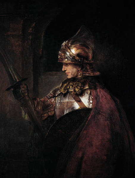 Lance Painting - A Man In Armour, 1655 by Rembrandt Harmensz. van Rijn