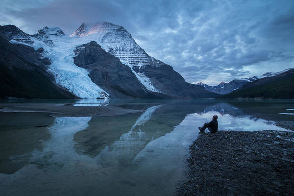 Wall Art - Photograph - A Man In Front Of A Lake, Mount Robson by Paul Zizka