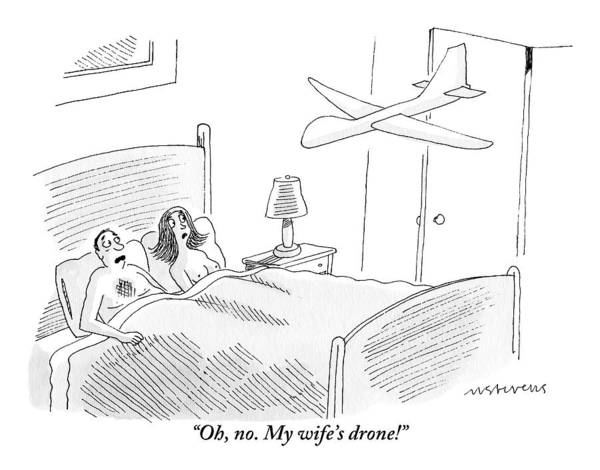 October 3rd Drawing - A Man Is In Bed With A Woman by Mick Stevens