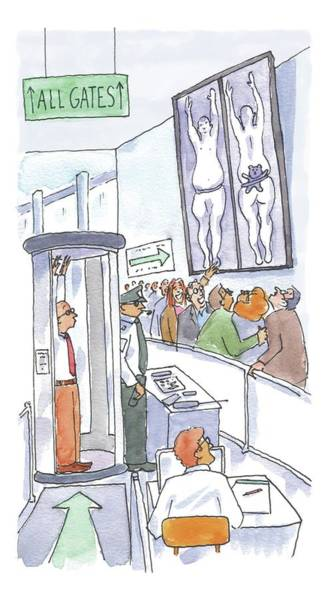 January 18th Drawing - A Man Is Is Held Up By Airport Security by Michael Crawford