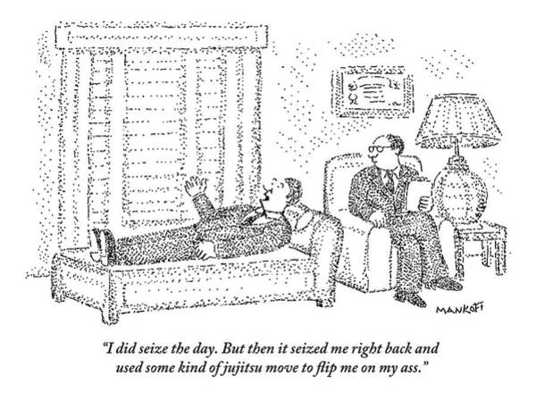 Therapy Wall Art - Drawing - A Man Is Laying On The Psychiatrist's Couch by Robert Mankoff