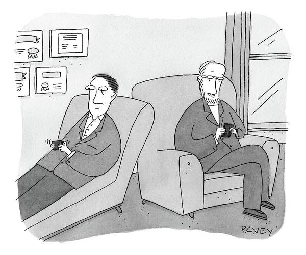 Therapist Drawing - A Man Is On The Couch In His Therapist's Office by Peter C. Vey