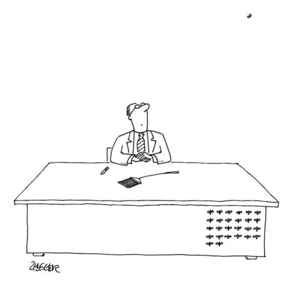 Stuck Drawing - A Man Is Seated As His Desk by Jack Ziegler